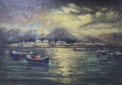 K E Guw (?), oil on canvas, 'Lake Tiberias', 51 x 71cm