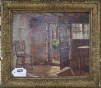 Arthur Claude Cooke, oil on canvas, Cottage interior, 25.5 x 30.5cm