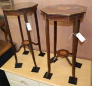 A pair of Edwardian inlaid mahogany octagonal occasional tables H.70cm