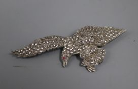 A white metal and marcasite set eagle brooch, with red paste eye, in fitted box, 80mm.
