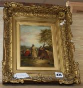 After George Morland, oil on canvas, Gypsy encampment, bears signature, 19 x 15cm