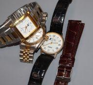Three assorted wrist watches.