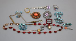 Two Scottish silver brooches and a small quantity of Victorian and other jewellery.