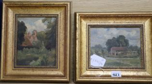 English School c.1900, oil sketch on board, Cottage and lane, 13.5 x 16.5cm, and British School c.
