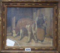 Late 19th century School, oil on board, Farmer and calf, 24 x 27.5cm