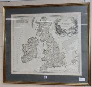 After S. Robert, Carte des Grandes Routes D'Angleterre D'Ecoss et D'Irlande, dated 1757, 51 x 61cm