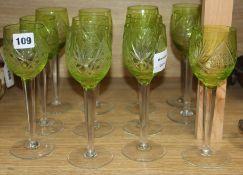 Twelve green hock glasses