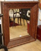 A 19th century acanthus carved walnut rectangular wall mirror H.92cm