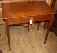 An early 19th century oak side table, fitted one drawer W.76cm