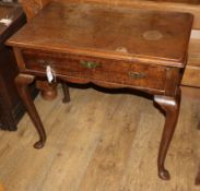 An 18th century mahogany side table, fitted single drawer on cabriole legs W.76cm