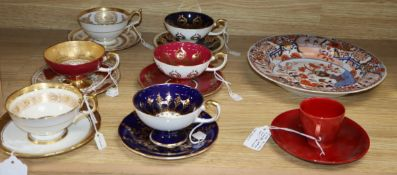 Six Aynsley cups and saucers, an ironstone dish and Doulton flame cup and saucer