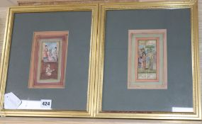 19th century Indian School in Moghul style, two gouaches, Court interior scene and Figures