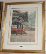 Japanese School, watercolour, Temple courtyard, 32 x 24cm 13 x 9in.