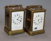 Two early 20th century lacquered brass carriage timepieces