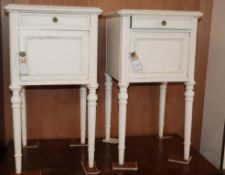 A pair of Louis XV style white painted marble topped bedside cupboards H.72cm