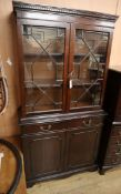 A reproduction Georgian design mahogany bookcase W.92cm