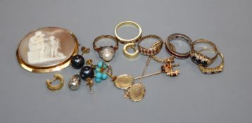 Mixed jewellery including cameo brooch, 18ct ring, 750 eternity ring, other rings, earrings etc.