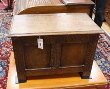 A small 17th century style oak coffer W.60cm