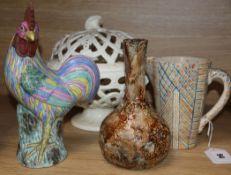 A Wedgwood pearlware pierced basket, a pottery vase, a jug and a cockerel