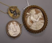 A large gilt metal mounted cameo brooch depicting a Bacchante, another smaller cameo brooch and a