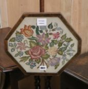 A Regency style inlaid mahogany pole screen with a needlework banner Pole screen H.138cm
