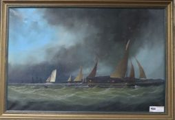 Robert Moore (1905-1963), oil on canvas, Trows and Cutters in the Channel, 49 x 74cm