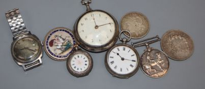 A George III silver pair cased verge pocket watch by Brentwood, London and other watches and mixed