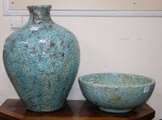 A Persian style turquoise crackle glass ovoid shaped vase and a similar bowl vase height 59cm
