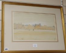John Doyle (1928-) pencil and watercolour, Eton College Chapel, Oxford and The Thames, Spink label