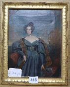 Manner of Chalon, oil on canvas, Portrait of an elegant young woman in a blue gown, oval, 25.5 x