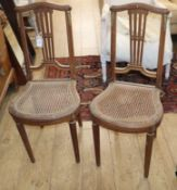 A pair of French caned salon chairs