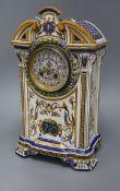 A Gien faience mantel clock, c.1900 height 39cm