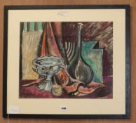 Ines E. Hoyton, watercolour, Table top still life, signed, 36 x 45cm