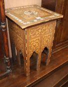 A Moorish mother of pearl inlay square occasional table W.36cm