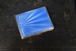 A Birks sterling and blue enamel cigarette case, 87mm.