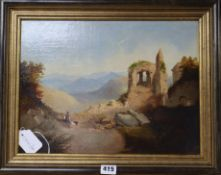 M* A* B*, oil on canvas, Mediterranean view, signed initials and dated 180*, 28.5 x 38cm