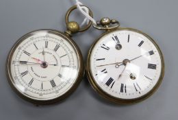 A 19th century continental base metal cased keywind pocket watch and a 19th century base metal