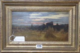 S. Wilson, oil on paper, Harvest field at dusk, signed, 16 x 30cm