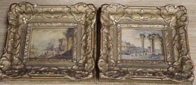 Italian School, pair of oils on copper, Scenes of figures in ports with ruins, 9.5 x 11.5cm