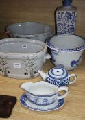 A quantity of blue and white porcelain and two footbaths