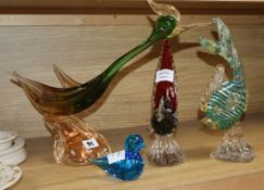 Two Murano coloured glass birds and a fish tallest 32cm (4)