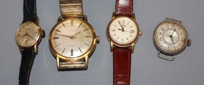 A 14ct Atlas lady's wristwatch, Tissot watch and two others.