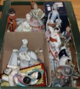 An erotic figure group and mixed figurines