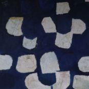 Stella W Rankin (1915-2009), oil on canvas board, Blue and white abstract painting, initialled SWR