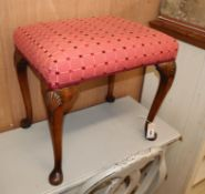 A Queen Anne style walnut dressing stool W.52cm