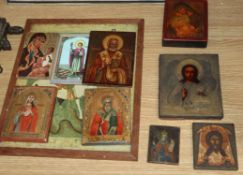 A group of nine early 19th/20th century Russian icons, largest 18.5 x 14cm and a print