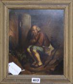 Late 19th century German School, oil on zinc, The disconsolate traveller, 24 x 20.5cm