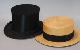 An Al'Herisse raffia straw panama hat, with original box, together with a top hat, in brown