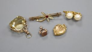 A pair of 750 yellow metal and cultured pearl earrings and four other items including two fob