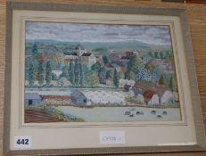 In the manner of Rena Gardiner, gouache, North European landscape, 21 x 31cm